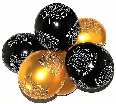 Pack of 10 Happy 50th Birthday Balloons Elegant and Classy Black and Gold Latex