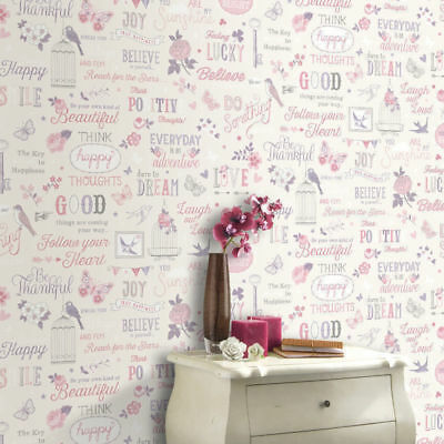 Wallpaper Rasch - Floral Vintage Shabby Chic Girls Quotes - Pink / Lilac -216707