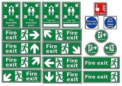 Fire Alarm Assembly Point Stickers Adhesive Vinyl Health and Safety Signs