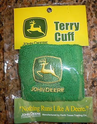L@@k! New John Deere Green Wrist Bands Terry Cuff Licensed Product Embroidered