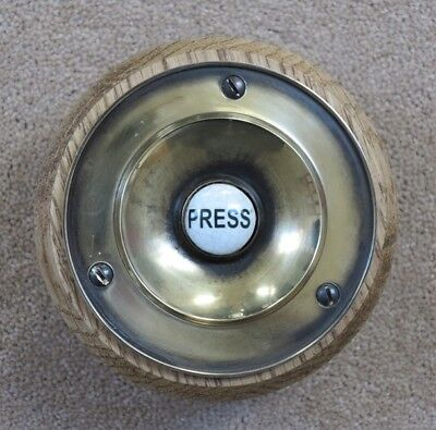 Solid Brass Foley Front Door Bell Press - Nickel Antique Victorian Door Bell