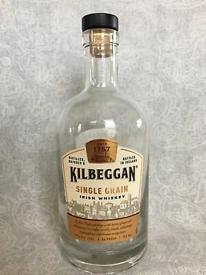 Irish Whiskey Kilbeggan Heavy Clear Glass Empty Bottle w/ Stopper Craft Collect