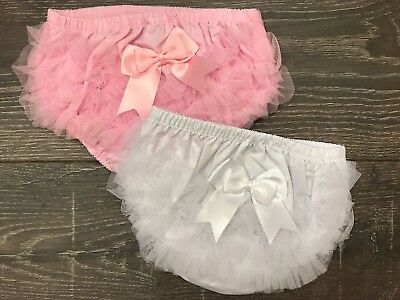 Baby Girl's Frilly Knickers Frills Cotton Frillies Frilled Pants Pink White