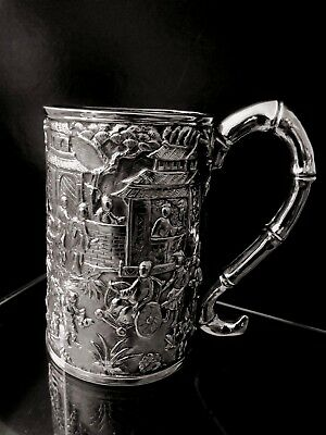 Chinese export steriling  silver gilding cup 1880'