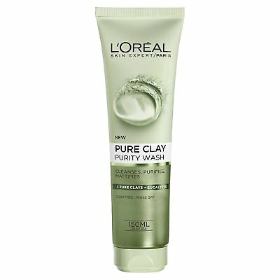 L'oreal Pure Clay Gel Facial 150 ml Purity Dark Spots Detox Wash Glow Face Daily