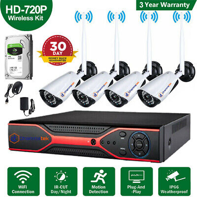 Wireless WiFi IP Camera 4channel CCTV KIT HDMI NVR DVR Home Security System UK