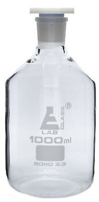 1000mL (33.8oz) Glass Reagent Bottle with Acid Proof Polypropylene Stopper,