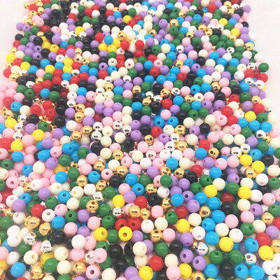 6/8/10/12mm Plastic Beads Smooth Round Loose Spacer Beads Crafts Decoration
