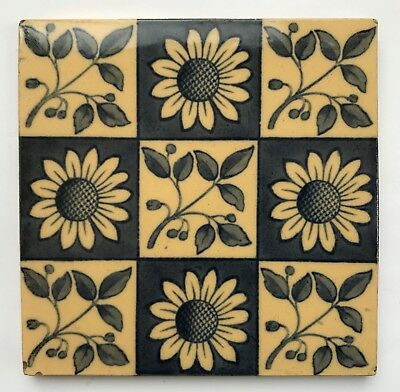 Original Antique Arts and Crafts Aesthetic Sunflower Tile C1880 by W T Copeland