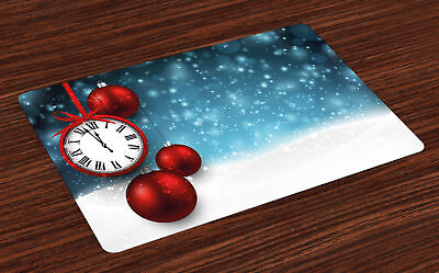 Clock Placemats Set of 4 by Ambesonne Washable Fabric Place Mats