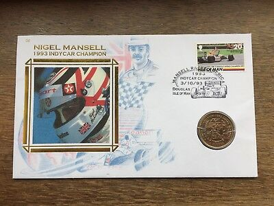IOM Isle of Man £2 TWO POUNDS 1993 Nigel Mansell F1 BU Stamp Coin Cover RARE FDC