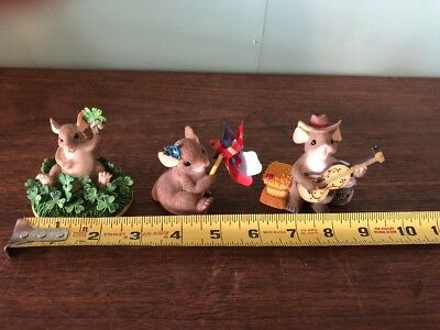 Charming Tails Mouse Figurines Lot Of 3 pinwheel guitar