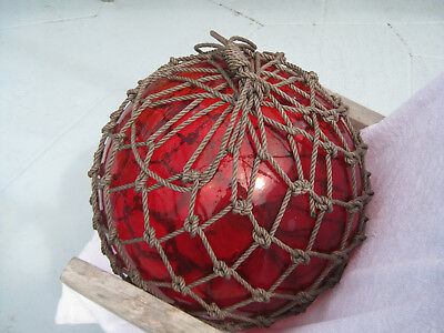 Japanese Glass Fish Net Float - Deep Ruby Red -  HUGE