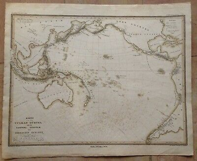 Asia Pacific Seismic Zones 1838 By Justus Perthes Large Copper Engraved Map