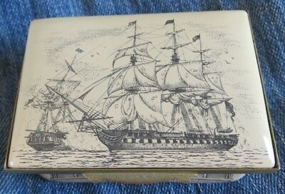Bilston Enamel Halcyon Days Trinket Box USS Constitution Made in England