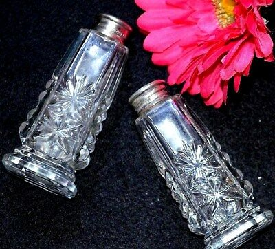 (#2) Antique Sterling Silver 0.925 Top + Mother Of Pearl & Cristal Glass Shakers