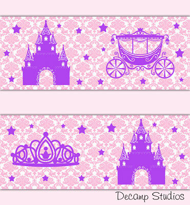 Pink Purple Princess Damask Wallpaper Border Wall Art Decals Girl Nursery Room