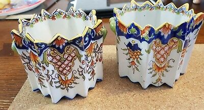Good pair of Antique French Faience tin glazed pots