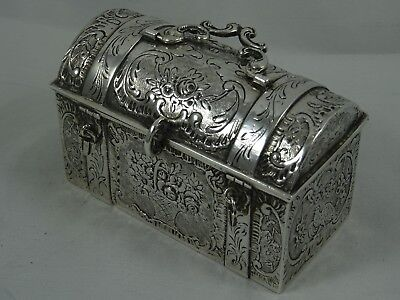`TRUNK / CHEST` solid silver TRINKET BOX, 1906, 127gm