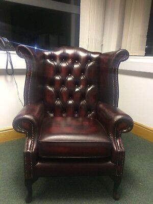 Chesterfield Real leather Queen Anne High Back Wing Chair Antique Oxblood