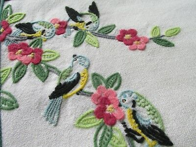 Vintage Hand Embroidered Cushion Cover-LOVELY BLUE TIT BIRDS