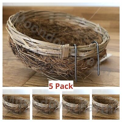 5 x CANARY NEST PANS COCO & WICKER for NESTING CANARIES & BIRDS