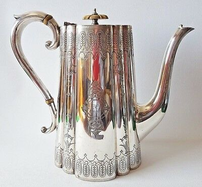 Good Quality Antique Silver-Plated (Epns) Tall Coffee Pot*john Round & Sons