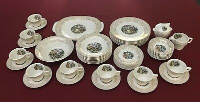 Vintage Sebring Pottery Chantilly ITS284 Service for 8 Warranted 22 K Gold Trim