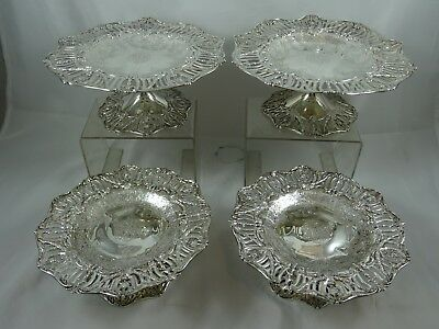 MAGNIFICENT SET X 4 VICTORIAN sterling silver COMPORTS, c1880, 1618gm