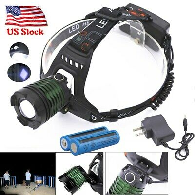 100000 Lumens 3-Zoomable Headlight LED Headlamp Rechargeable Head Light Torch US