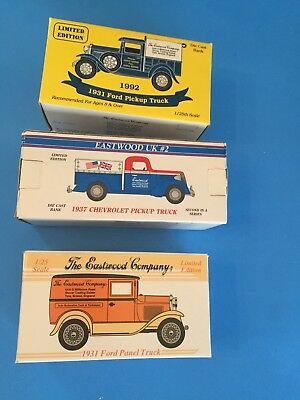 Eastwood USA/UK Grand Opening Lot of 3 Truck Banks Fords/Chevys Limited Editions