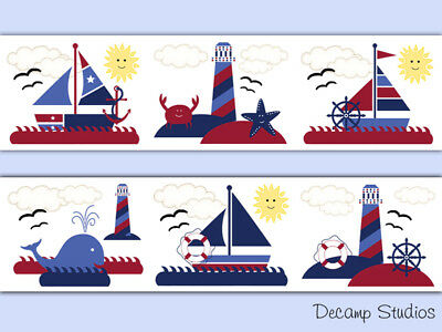 Nautical Wallpaper Border Wall Art Decals Baby Boy Sailboat Whale Nursery Room