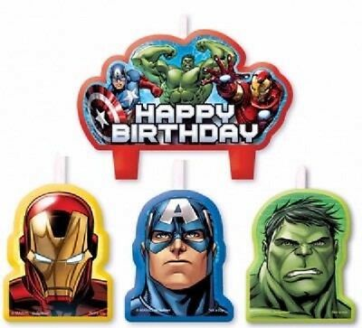 Avengers Birthday Candles x 4 Partyware Children's Party Cake Topper Tableware