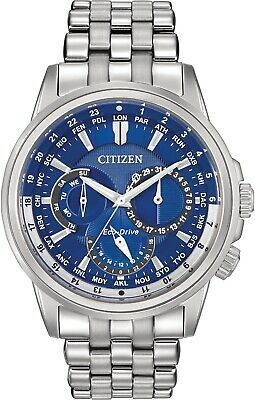 Citizen Men's Eco-Drive Calendrier World Blue Dial SS Bracelet Watch BU2021-51L