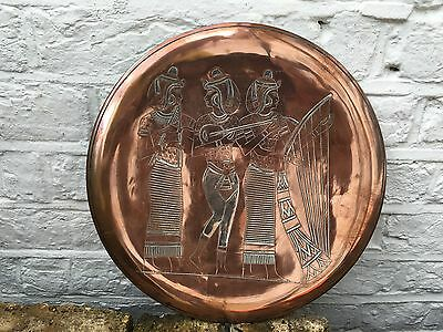 Antique Arts And Crafts Copper Engraved Egyptian Ladies Wall Hanging Plate