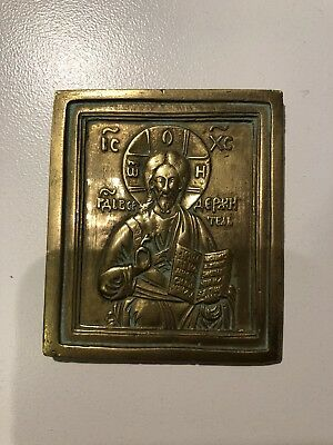 Antique Russian Orthodox Brass Icon Jesus Christ Old Believer Christian 19th C