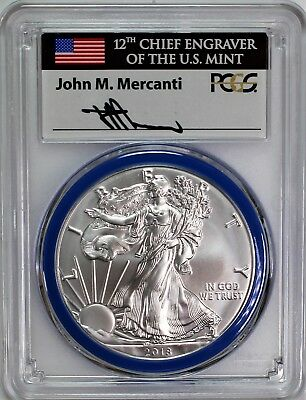 2018 W Burnished Silver Eagle PCGS SP70 Mercanti Signed Mint Engraver Series
