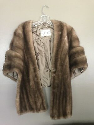 Brown Mink Wrap Vintage Real Fur beauty (cape/shawl) L