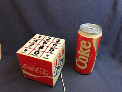 2 Vintage Coca Cola PHONES Can Push Button Olympic Cube Telephone Coke Untested