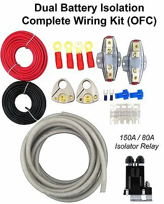 Heavy Duty Dual Battery Isolator Kit+Copper Wire+Terminals+Fuse Holder  Rk48Ofc