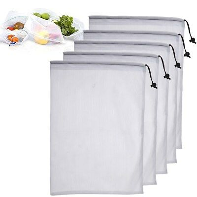 5pcs Eco Mesh Reusable Produce Bags Fruit & Vegetable Grocery Fridge 3 Size AU