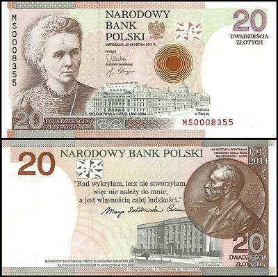 Poland 20 Zlotych Banknote, 2011, P-A184, UNC, 100th Anniversay, In Folder