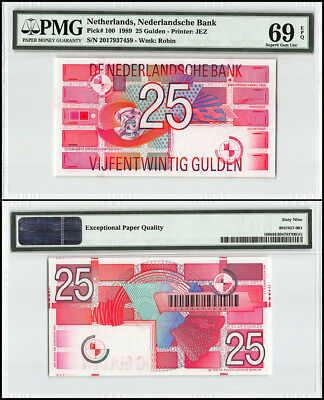 Netherlands 25 Gulden, 1989, P-100, Value and Geometric Designs, Robin, PMG 69