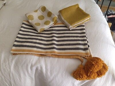 Habitat Throw With Tassels + 4 Matching Freedom Cushion Covers