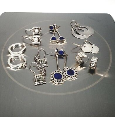 Beautiful Vintage Mexican Sterling Silver Solid Petit Earring Lot of 8