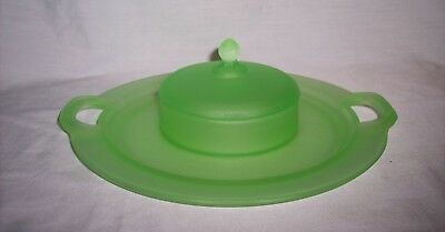 Vintage U. S. Glass -  Green Satin Glass Handled Cheese and Cracker Set #336-2