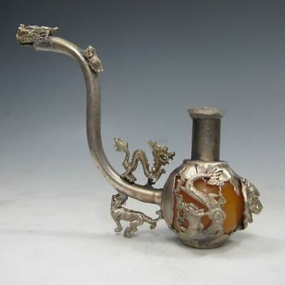 Old Handwork Inlay Yellow Jade Tibet Silver Dragon Smoking Pipe Collectible