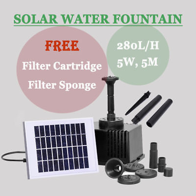 Solar Power Fountain Water Feature Pump Submersible Kit For Garden Pond Pool AU