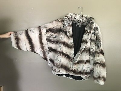 genuine Olga chinchilla rabbit fur vintage coat M-L ULTIMATE SOFTNESS!