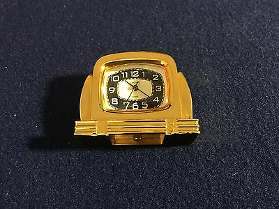 Vintage  Linden  Quartz  Solid  Brass  &  Glass  Desk  Mantel  Clock